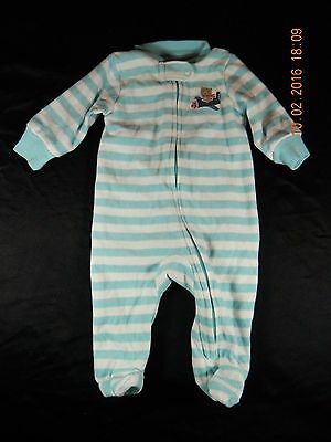 Carter's Boys Blue & White Striped Airplane Pajamas Fall/Winter Size 3 Months
