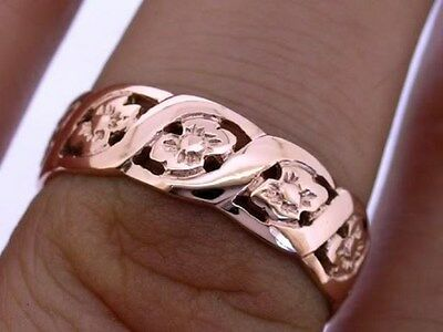 R009- Genuine SOLID 9ct Rose Gold Blossom FULL Eternity Wedding Band Ring size P