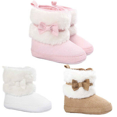 Winter Baby Boy Girl Toddler Warm Bowknot Soft  Snow Boots Sole Crib Shoes 3Size