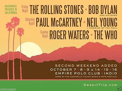 Desert Trip- 3-Day Passes- Week 2- Reserved Floor Seating- Price for 2- Tickets