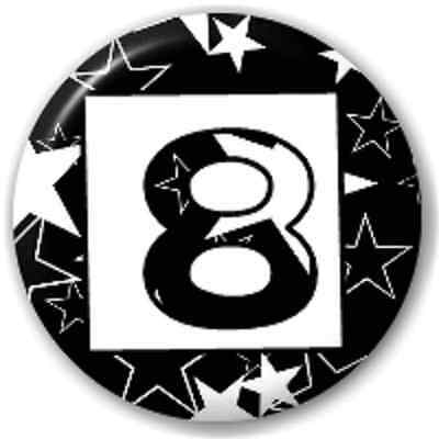 SMALL 25mm NUMBER 8 - STARS – PIN BUTTON BADGE