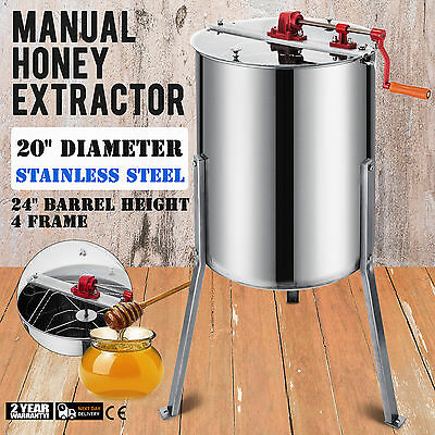 """Manual Honey Extractor 4/8 Frame Stainless Steel Durable 2"""" Outlet Draining"""