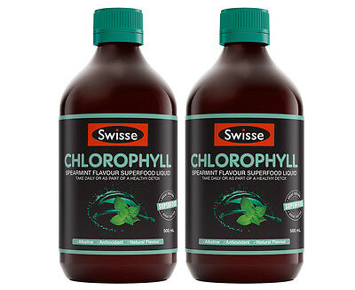 2 x Swisse Chlorophyll Superfood Liquid Spearmint 500mL