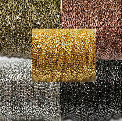 Wholesale 1/5/100M Gold/Silver Cable Open Link Iron Metal Chain Making DIY 3x4MM