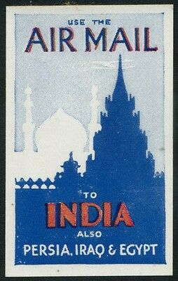 1935c KGV Airmail Propaganda Label - India, Persia, Iraq & Egypt