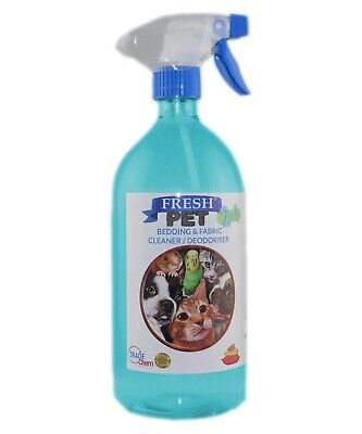 FRESH PET 2in1 BEDDING & FABRIC,Clean & Deodorise - 1L with Spray BABY POWDER