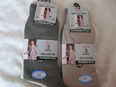 Bnwt 6 Pair Mens Platinum Style !00% Cotton Socks Size 6-11 Free Uk Postage