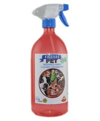 FRESH PET 2in1 BEDDING & FABRIC,Clean & Deodorise -1L with Spray -STRAWBERRY