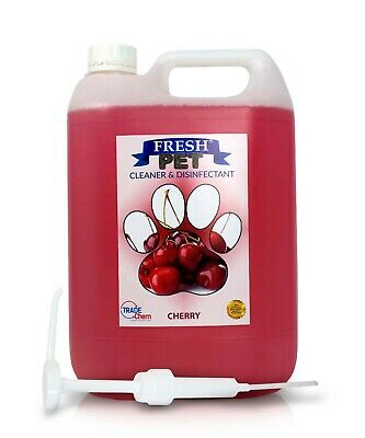 Fresh Pet Kennel Cattery Disinfectant & Deodoriser 5L CHERRY - WITH PUMP