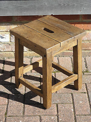 Lovely Antique French Country Rustic Farmhouse Oak Stool