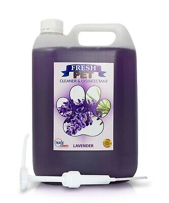 Fresh Pet Kennel Cattery Disinfectant & Deodoriser 5L LAVENDER - WITH PUMP