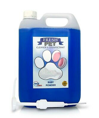 Fresh Pet Kennel Cattery Disinfectant & Deodoriser 5L BABY POWDER - WITH PUMP