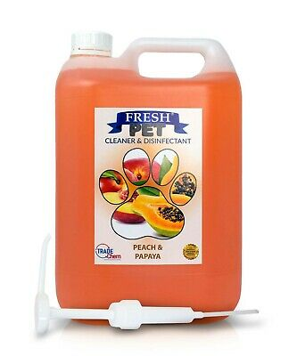 Fresh Pet Kennel Cattery Disinfectant & Deodoriser 5L PEACH & PAPAYA- WITH PUMP