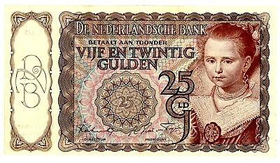 Netherlands … P-60a … 25 Gulden … 1944 ...  *Choice AU* ... 3AO 934824.