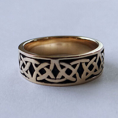 R280 Genuine SOLID 9ct Yellow Gold HEAVY oxidized Keltic Celtic BAND Ring sz 10