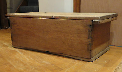 Antique Primitive Old Country Rustic Farmhouse French Oak Chest Trunk Box
