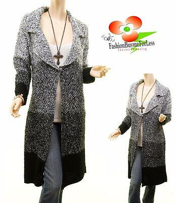 83e894929 DANIE VOCAL BLACK Wool Chunky Tweed Cable Knit Long Cardigan Sweater ...