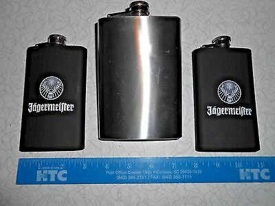 """3-FLASK, 2 JAGERMEISTER 5"""" -4 oz. AND 1 MAXAM 6""""- 8 oz.STAINLESS"""