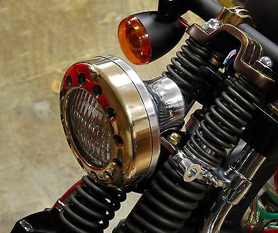 Solid Brass Drilled Halo Headlight Brass & Aluminum Harley Xs650 Bobber Chopper