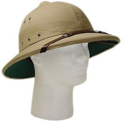 Vintage U.S. Style Pith Safari Jungle Helmet Khaki Tan Deluxe Explorer Hat!