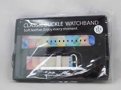Classic Buckle Watchband Soft Leather for Apple Watch 38mm Rainbow