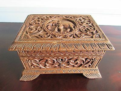 19th Century Carved Indian Box