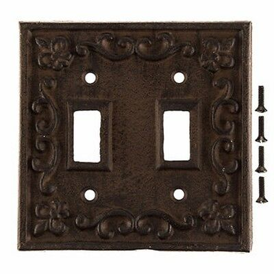 Heavy Cast Iron Light Switch Plate Cover Antique Finish Ornate Victorian