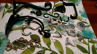 Vintage Mixed Lot of Cast Iron Coat ceiling brass cup Shelf Wall School hooks