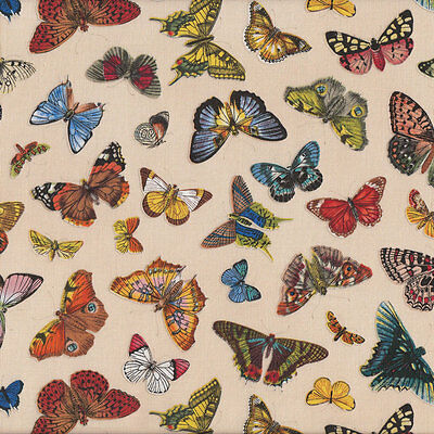 Butterflies on Cream Springtime in Paris Quilting Fabric FQ or Metre *New*