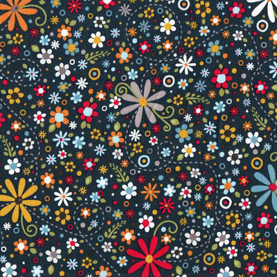 Nested Owls Daisies and Flowers Quilt Fabric FQ or Metre *New*