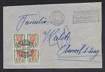 Switzerland 1935 Block Of Four Postage Dues Franking Cover Zurich To Oberwil
