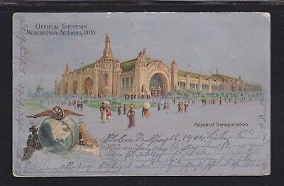 Usa 1904 St Louis World's Fair Postcard Palace Of Transportation Used