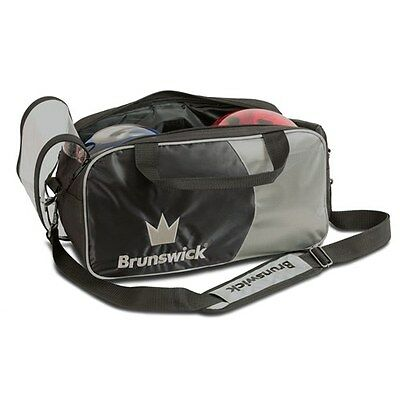 Brunswick Crown Black/Silver 2 Ball Tote Bowling Bag