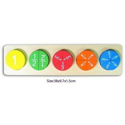 WOODEN Large Puzzle FRACTIONS Circles Educational MATH TOY Stand MATHS 1 - 1/5