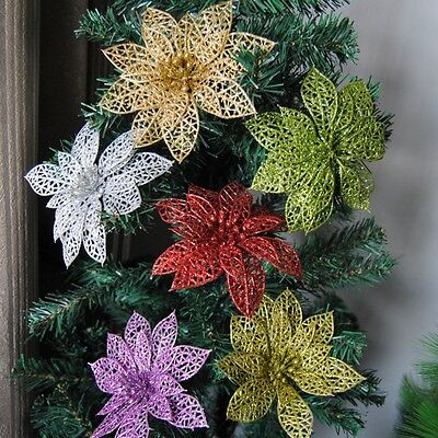 "10pcs Christmas Flowers 6"" Xmas Tree Decorations Glitter Hollow Wedding Party"