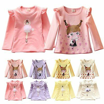 Autumn Baby Kids Girl Clothes Long Sleeve Cotton Bottom T-Shirt Blouse Tops 2-7Y