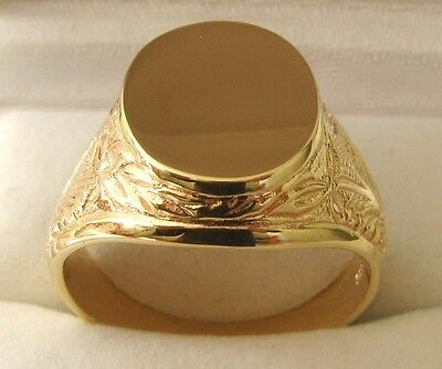 LARGE  GENUINE  9K  9ct  SOLID  GOLD  HEAVY SHIELD MENS SIGNET RING