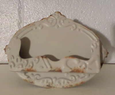 Gray Metal Shabby Chic Vintage Style Business Card Holder Office Accessory New