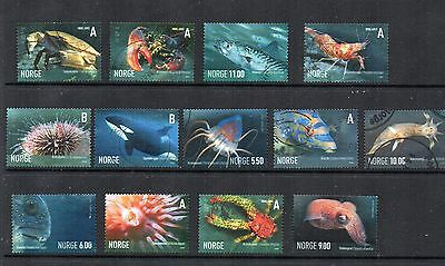 Norway :  2006 Fish/marine Life Fine Used Set Of 13 Stamps