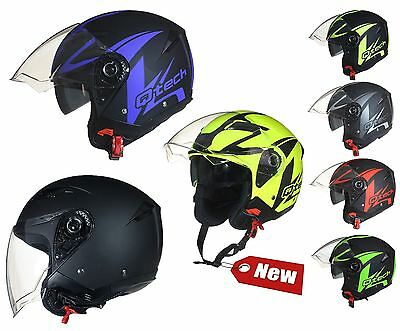 OPEN Face Motorcycle Helmet SCOOTER Motorbike MATT Black Integrated SUN Visor
