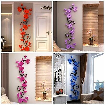Removable 3D Acrylic Flower Vinyl Quote DIY Wall Sticker Art Decal Decor 5Colors