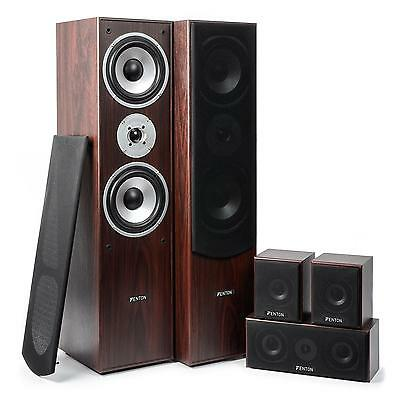 Sistema Home Cinema Theater 5.0 Impianto Audio Altoparlanti Diffusori Legno