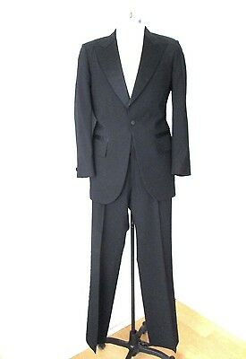 VGC Vtg 60s 70s Black Worsted Wool 2-Pc Tuxedo Formal Suit Adjustable Pants 38