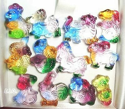 1 Set 12 Pieces Chinese Liuli Glass Chinese Zodiac Animal Pendant