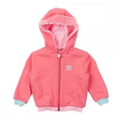 Adidas Originals Infant Girls Fur Hooded Warm Winter Jacket Pink (#6774)
