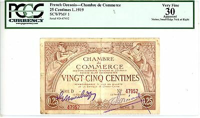 French Oceania ... P-1 … 25 Centimes …1919 … *VF* ... PCGS 30