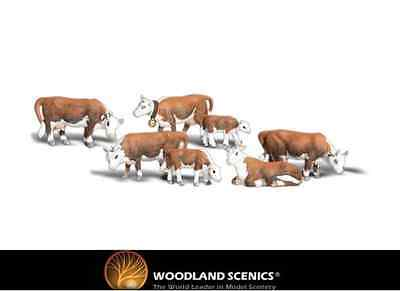 Woodland Scenics A2144 Hereford Cows Figures N Gauge