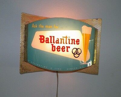"Vintage Ask The Man For Ballantine Beer Light Up Sign Curved Glass 13"" Long"