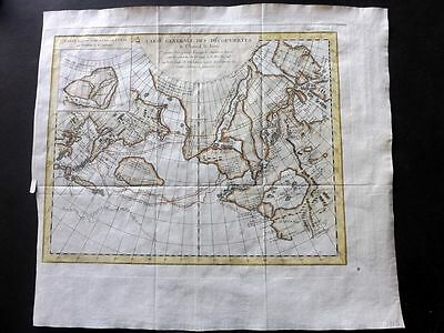 Diderot & Vaugondy 1782 HCol Map. North West Coast USA, Siberia Russia