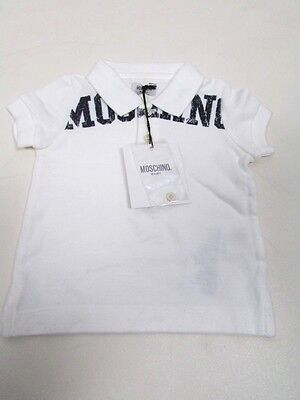 Moschino Baby Boys 3-6 Months White Polo Shirt Rrp £48